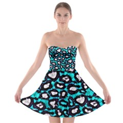 Turquoise Black Cheetah Abstract  Strapless Bra Top Dress