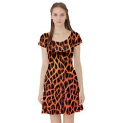 Lava Abstract  Short Sleeve Skater Dresses