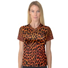 Lava Abstract  Women s V-Neck Sport Mesh Tee