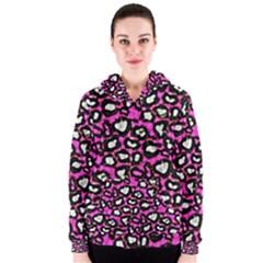 Pink Cheetah Abstract  Women s Zipper Hoodies