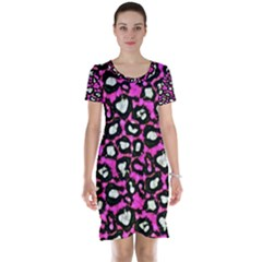 Pink Cheetah Abstract  Short Sleeve Nightdresses