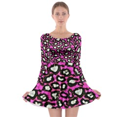 Pink Cheetah Abstract  Long Sleeve Skater Dress