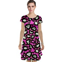 Pink Cheetah Abstract  Cap Sleeve Nightdresses
