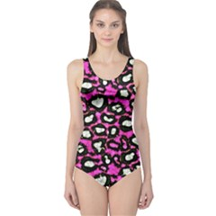 Pink Cheetah Abstract  Women s One Piece Swimsuits