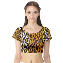 Animal Print Abstract  Short Sleeve Crop Top