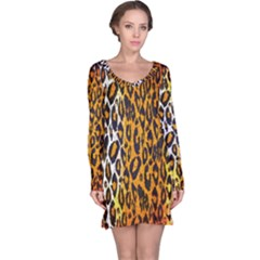 Animal print Abstract  Long Sleeve Nightdresses