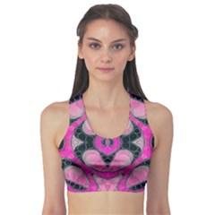Pink Black Abstract  Sports Bra