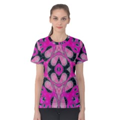 Pink Black Abstract  Women s Cotton Tees