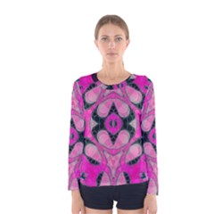 Pink Black Abstract  Women s Long Sleeve T Shirts