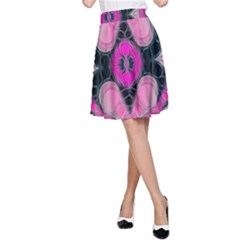 Pink Black Abstract  A Line Skirts
