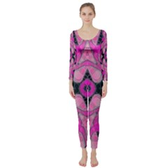 Pink Black Abstract  Long Sleeve Catsuit