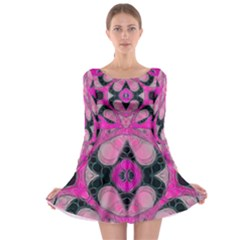 Pink Black Abstract  Long Sleeve Skater Dress