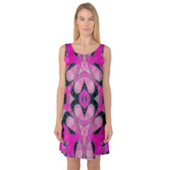 Pink Black Abstract  Sleeveless Satin Nightdresses