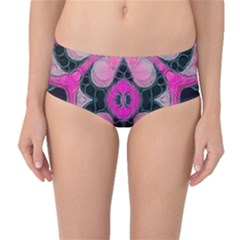 Pink Black Abstract  Mid-Waist Bikini Bottoms