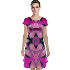 Pink Black Abstract  Cap Sleeve Nightdresses
