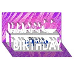 Florescent Pink Zebra Pattern  Happy Birthday 3d Greeting Card (8x4)
