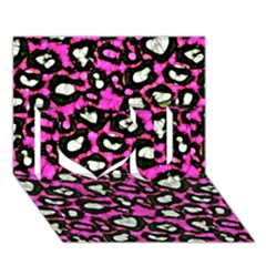Pink Black Cheetah Abstract  I Love You 3d Greeting Card (7x5)