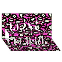 Pink Black Cheetah Abstract  Best Friends 3D Greeting Card (8x4)