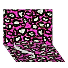 Pink Black Cheetah Abstract  Heart Bottom 3D Greeting Card (7x5)