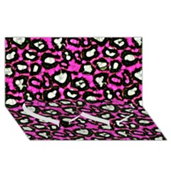 Pink Black Cheetah Abstract  Twin Heart Bottom 3D Greeting Card (8x4)