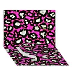 Pink Black Cheetah Abstract  Circle Bottom 3D Greeting Card (7x5)