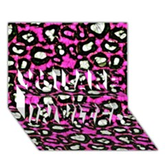 Pink Black Cheetah Abstract  You Are Invited 3d Greeting Card (7x5)