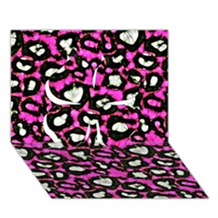 Pink Black Cheetah Abstract  Clover 3d Greeting Card (7x5)