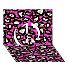 Pink Black Cheetah Abstract  Peace Sign 3d Greeting Card (7x5)