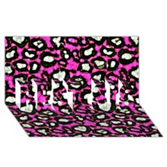 Pink Black Cheetah Abstract  Best Sis 3d Greeting Card (8x4)