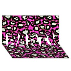 Pink Black Cheetah Abstract  Party 3d Greeting Card (8x4)