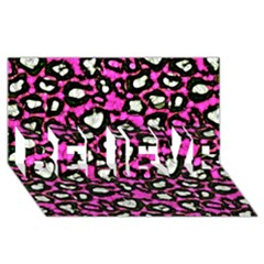 Pink Black Cheetah Abstract  Believe 3d Greeting Card (8x4)