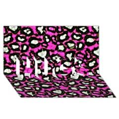 Pink Black Cheetah Abstract  HUGS 3D Greeting Card (8x4)