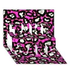 Pink Black Cheetah Abstract  Take Care 3d Greeting Card (7x5)