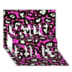 Pink Black Cheetah Abstract  You Did It 3d Greeting Card (7x5)