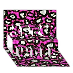 Pink Black Cheetah Abstract  Get Well 3d Greeting Card (7x5)