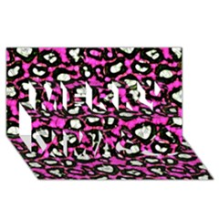 Pink Black Cheetah Abstract  Merry Xmas 3D Greeting Card (8x4)