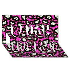 Pink Black Cheetah Abstract  Laugh Live Love 3D Greeting Card (8x4)