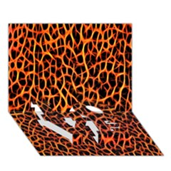Lava Abstract Pattern  LOVE Bottom 3D Greeting Card (7x5)