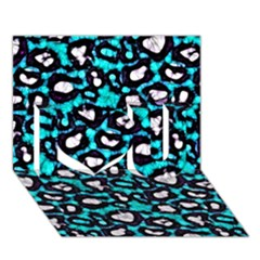 Turquoise Black Cheetah Abstract  I Love You 3d Greeting Card (7x5)