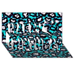 Turquoise Black Cheetah Abstract  Happy Birthday 3d Greeting Card (8x4)