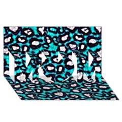 Turquoise Black Cheetah Abstract  Mom 3d Greeting Card (8x4)