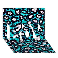 Turquoise Black Cheetah Abstract  Boy 3d Greeting Card (7x5)