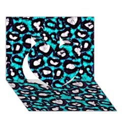 Turquoise Black Cheetah Abstract  Heart 3D Greeting Card (7x5)