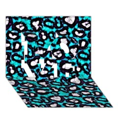 Turquoise Black Cheetah Abstract  Love 3d Greeting Card (7x5)