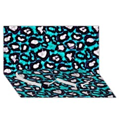 Turquoise Black Cheetah Abstract  Twin Heart Bottom 3D Greeting Card (8x4)