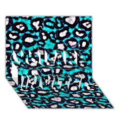 Turquoise Black Cheetah Abstract  YOU ARE INVITED 3D Greeting Card (7x5)