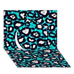 Turquoise Black Cheetah Abstract  Circle 3D Greeting Card (7x5)