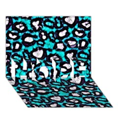 Turquoise Black Cheetah Abstract  HOPE 3D Greeting Card (7x5)