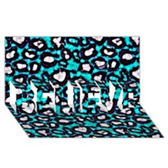 Turquoise Black Cheetah Abstract  BELIEVE 3D Greeting Card (8x4)