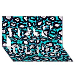 Turquoise Black Cheetah Abstract  Best Wish 3D Greeting Card (8x4)